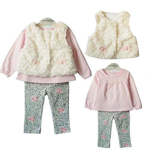 Misaky Kid Girl T-shirt Tops+Leggings+Vest 3pcs Outfit (24M, Pink)
