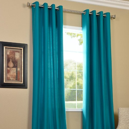 PINDIA Eyelet Polyester Window Curtain - 5ft, Aqua