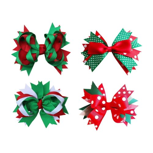 Janecrafts Large Layered Christmas Hair Bow in Red Green christmas Holiday Set 8pcs Mixed in 4 Colors