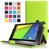 MoKo Google New Nexus 7 FHD 2nd Gen Case - Slim-Fit Multi-angle Stand Cover Case for Google Nexus 2 7.0 Inch 2013 Generation Android 4.3 Tablet, GREEN (With Smart Cover Auto Wake / Sleep Feature)