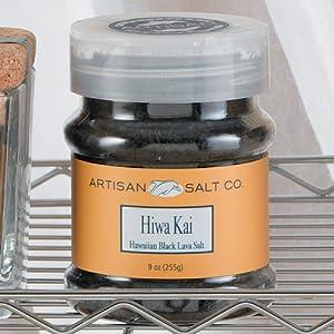 Artisan Salt Hiwa Kai Hawaian Black Lava Gourmet Sea Salt Flip Top Jar - 9 oz.