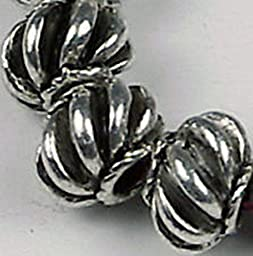 Smith Beads 12 Silver Pewter Melon Space 7x5mm Beads Lead-Free
