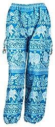 Havya Fashion Womens Viscose Harem (Blue and White, 32)