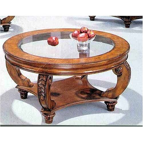 Buy Low Price 3 Pc Slightly Distressed Round Top Coffee Table Set Vf Az02 13377 Coffee Table