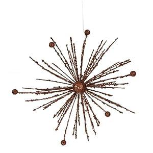 "9"" Chocolate Brown Glitter Sparkle Starburst Snowflake Christmas Ornament"