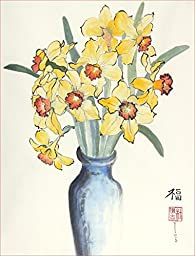 Daffodils in a Blue Vase, Giclee Print of Original Sumi-e Flower Painting, 10 X 13 Inches
