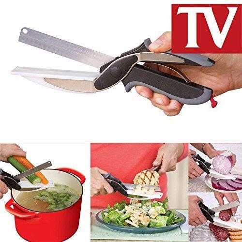 Clever Cutter Alimentaire Chopper 2 in 1 découper de cuisine Ciseaux Cutter Outil de coupe légumes fruits comme vu sur TV