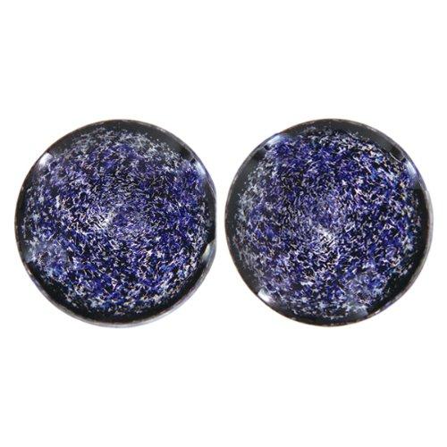 Diamond Blue Foil Galaxy Glass Plugs - Double Flare - 9/16