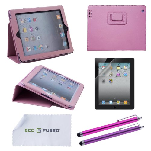 5 pcs iPad 2 Accessory Bundle / Pink Leather Case with Stand / Stylus Pens / Screen Protector- ECO-FUSED® Microfiber Cleaning Cloth Included