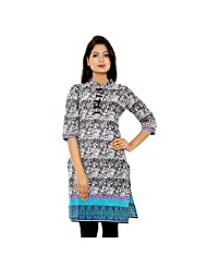 Adesa Cotton Black Self Print Kurti For Women - B00TF8LA3E