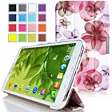 MoKo Samsung Galaxy Tab 3 8.0 Case - Ultra Slim Lightweight Smart-shell Stand Cover Case for Samsung Galaxy Tab 3 8.0 Inch SM-T3100 / SM-T3110 Android Tablet, Floral PURPLE (with Smart Auto Wake / Sleep Feature. WILL NOT Fit Samsung Galaxy Tab 4 8.0)