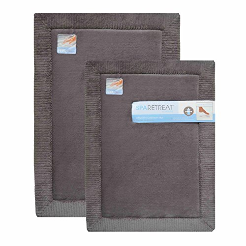 "2 Piece Gray Memory Foam Bath Mat: 17"" x 24"" and 20"" x 32"", AirFLO Fast Drying Non-Skid Backing, 1"" Thick (Gray)"