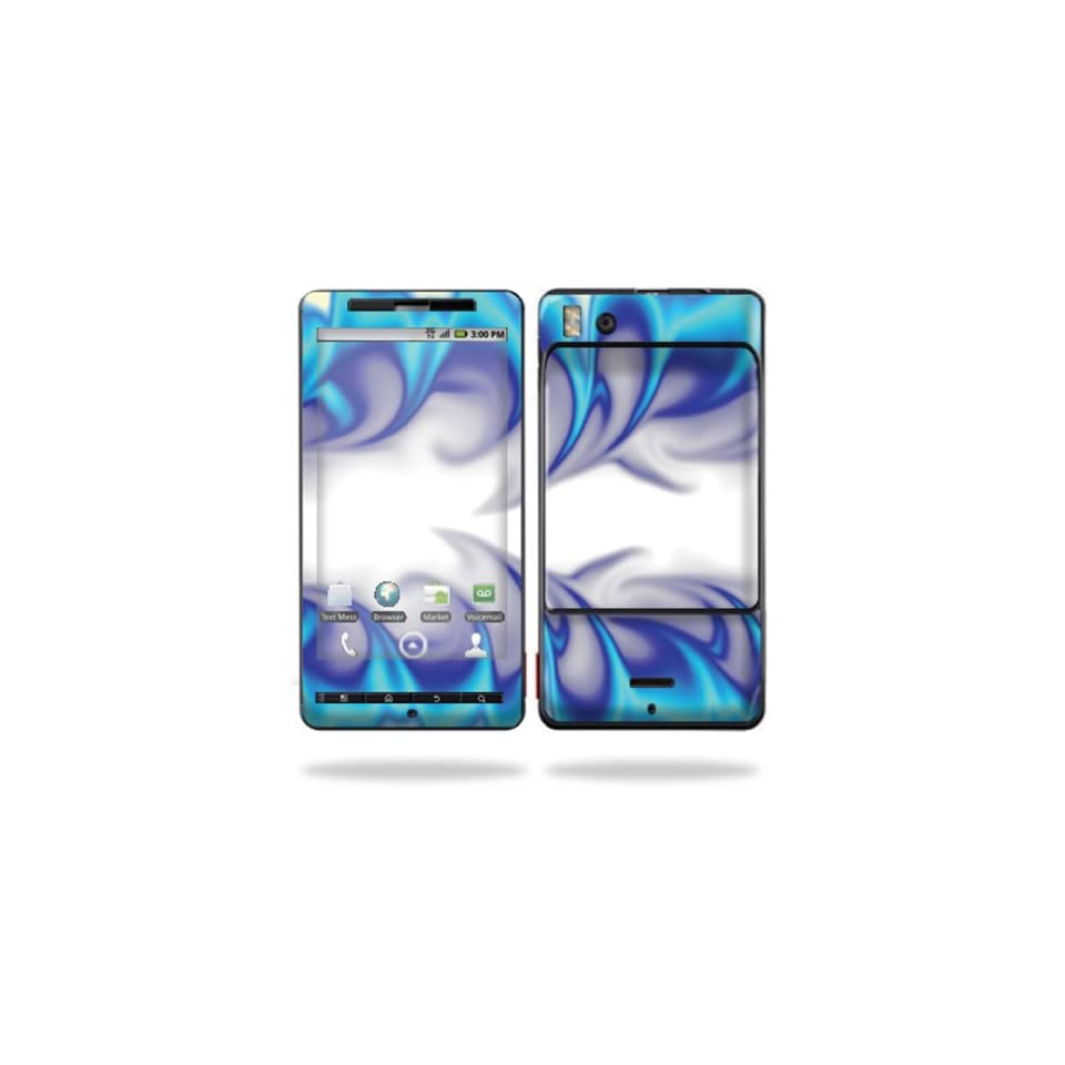 Protective Vinyl Skin Decal Cover for Motorola Droid X (MB 810) or X2 (MB 870) Cell Phone Sticker Skins  Blue Fire