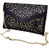 Buenocn Women Faux Leather Retro Hollow Envelope Clutch Chain Handbag Ls0361