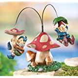 Flying Gnomes On A Mushroom Garden Stake Sculpture By Collections Etc