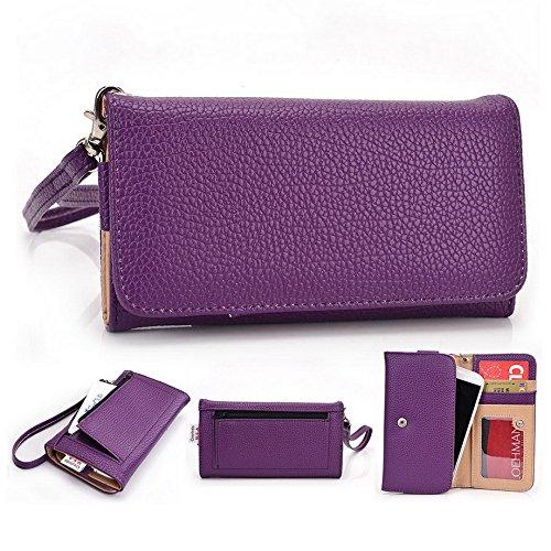 KROÓ frizione universale per cellulare da donna, in pelle PU, a portafoglio, con cinturino da polso per BLU Life Play, Sport, 4,5 Viola viola