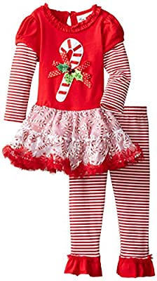Candy Cane Tutu Dress & Legging Set by Rare Editions
