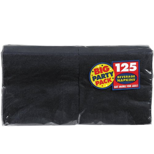 "AMSCAN Big Party Pack Beverage Napkin 125-Pack: 5"" Black"