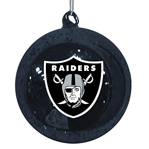 Oakland Raiders Mercury Glass Ball Ornament
