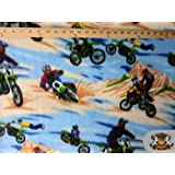 """Fleece Printed Fabric MOTOCROSS BLUE BROWN / 58"""" Wide / Sold by the yard"""