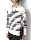 (リピード) REPIDO Tシャツ tシャツ カットソー 長袖 ロンT ロンt 長袖t メンズ ボートネック バスクシャツ クルーネック クルー 丸首 長袖パネルボーダーボートネックTシャツ オフホワイト×マルチカラー Mサイズ