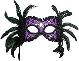 Chica vestido de Fancy fiesta veneciana carnaval cara Decor Feather Eye Mask UK