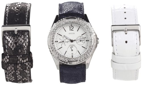 Guess Women's U0086L1 Feminine Classic Hi-Energy Style Watch with Three Interchangeable Straps