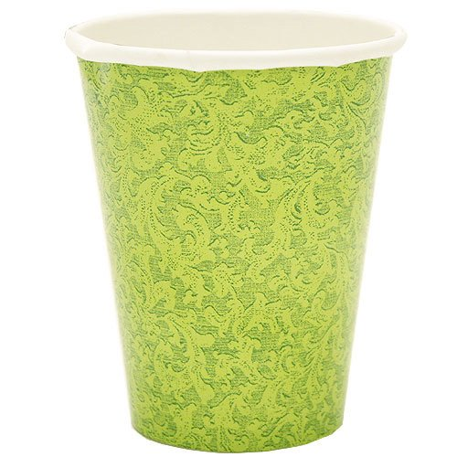 Lillian Tablesettings 24-Piece Twin Stack Paper Cups Set, 9-Ounce, Green Texture