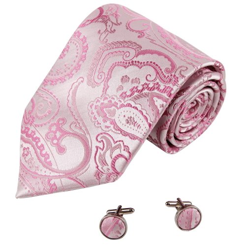 A2012 Light Pink Great Patterned Adults Day Presents One Size Evening Gift Ideas Silk Ties Cufflinks Set 2PT By Y&G