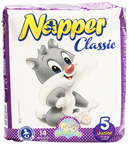 Napper - Classic, Pannolini Unisex Per Junior 11-25 Kg, Sistema Di Chiusura Anatomico - 14 Pezzi