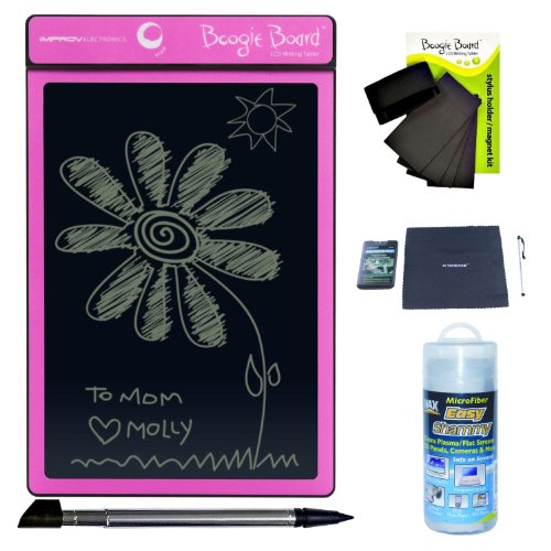 Improv Boogie Board Original 8.5-Inch Lcd E-Writer/Writing Tablet (Pink) With Tablet Accessory Kit
