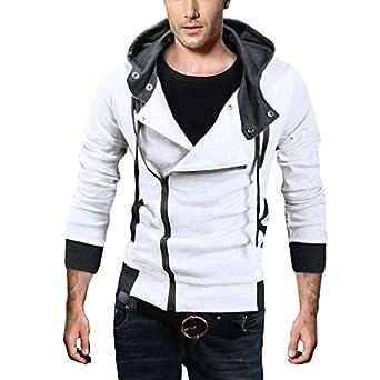 DJT Zip Manteau Blouson avec Capuche Homme Blanc S
