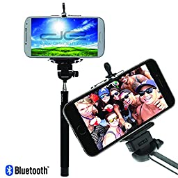 DE Selfie Stick, Bluetooth, for iPhone 6, iPhone 6 Plus, iPhone 5 5s 5c, iOS, Android, Samsung Galaxy, and smartphones with built-in Remote Shutter Button (In Retail Packaging) by DE