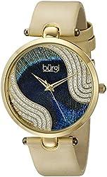 Burgi Women's BUR131YG Analog Display Swiss Quartz Beige Watch