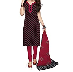 Aika Fashion Women's Crepe Fabric Printed Unstitched Regular Wear Dress Material In Red Color (Free Size_DR016HA1269-at)