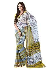 Indian Designer Sari Stylish Stripes Printed Faux Georgette Saree By Triveni