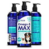 Max Strength Omega 3 Fish Oil For Dogs and Cats - 80% More EPA & DHA Per Serving - Human Grade Wild Caught Fish Oil Supplement - Best For Skin, Coat, Joint & Heart Health - 16oz Liquid