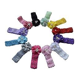 Baby Headbands Baby Girl Headbands with Chiffon Bows & Beads (12 pcs)