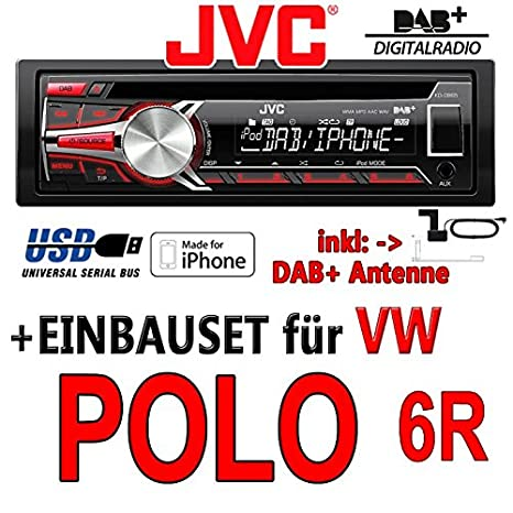 VW polo 6R jVC-kD-dB65 dAB autoradio cD/mP3/uSB avec dAB et antenne