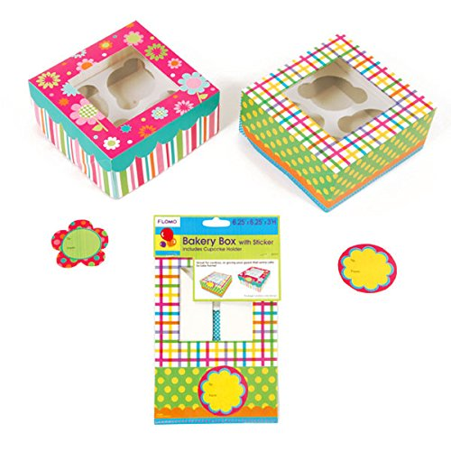 "Bakery Box With Sticker And Cupcake Holders For 4, 6.25"" X 6.25"" X 3"", 2 Designs (12/72)"