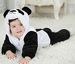 Meilaier Winter Flannel Newborn Romper Panda Toddler Infant Baby Onesie Outfits Suit (80cm(for ages 6-12 months))