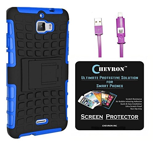 Chevron Tough Hybrid Armor Back Cover Case with Kickstand for Coolpad Dazen 1 with HD Screen Guard & 2 In 1 Data Cable (Blue)
