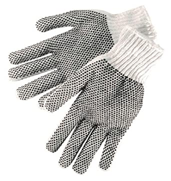 Liberty S4715Q Cotton/Polyester Plain Seamless Knit Men's Glove with Two-Sided Black PVC Dots, Natural White (Pack of 12)