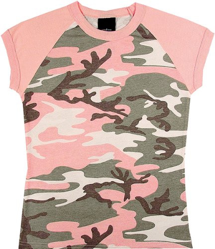Subdued Pink Military Camouflage Raglan T-Shirt