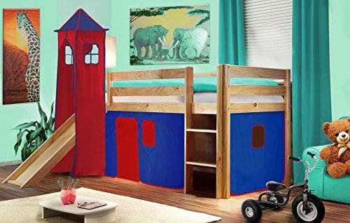 cama alta de nios cama de juego con torre y tobogn pino maciza u azulrojo v u shb