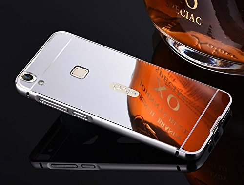 G M Brothers Luxury Mirror Aluminium Metal Bumper Back Cover Case For VIVO V3 MAX (Silver)