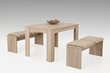 Essgruppe Sonoma Eiche-Nachbildung, 1 Esstisch, Maße: B/H/T ca. 120/76/80 cm und 2 Bänken, Maße: B/H/T je ca. 110/45/35 cm, 4 Klemmkissen in beige