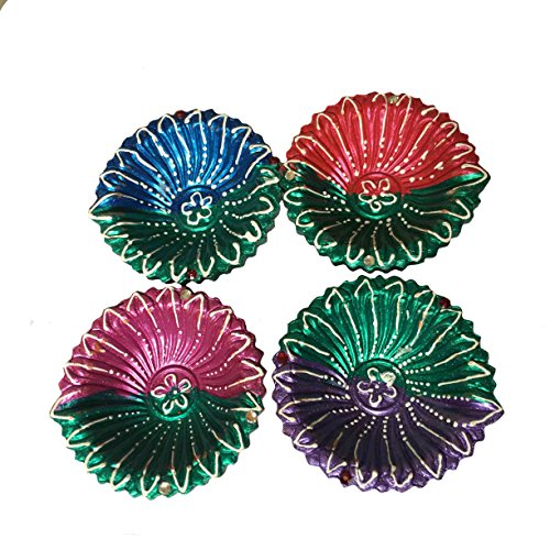 Hand Painted Diwali Diya Set of 4, Multi colored Specially for Diwali Festive