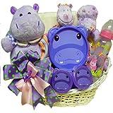 Art of Appreciation Gift Baskets Happy Happy Hippo New Baby Gift Basket, Girl