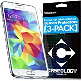 [3-Pack] Caseology Samsung Galaxy S5 LCD HD Premium [Crystal Clear] Front Protection Clarity Screen Protector + [Lifetime Warranty] [Made in Korea] (For Verizon, AT&T Sprint, T-mobile, Unlocked)